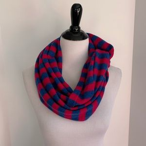 Blue and pink cashmere infinity scarf